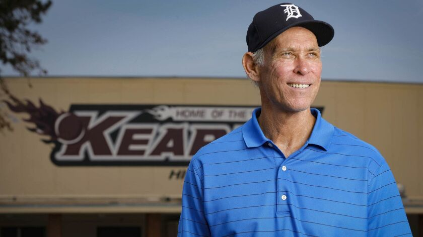 Alan Trammell, pictured this week at Kearny High, where he starred in basketball and baseball in the mid-1970s. Trammell, who played shortstop for 20 years for the Detroit Tigers, will be enshrined in the National Baseball Hall of Fame next week in Cooperstown, N.Y