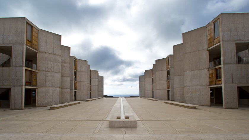 FILE - This Oct. 3, 2013 file photo shows The Salk Institute, above the Pacific Ocean in San Diego.