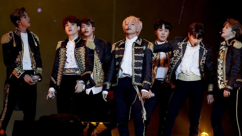 LOS ANGELES, CALIF. - SEP. 5, 2018. The Korean boy band BTS performs at Staples Center in Los Ang