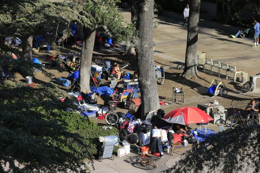 The homeless encampment at the Santa Ana Civic Center.