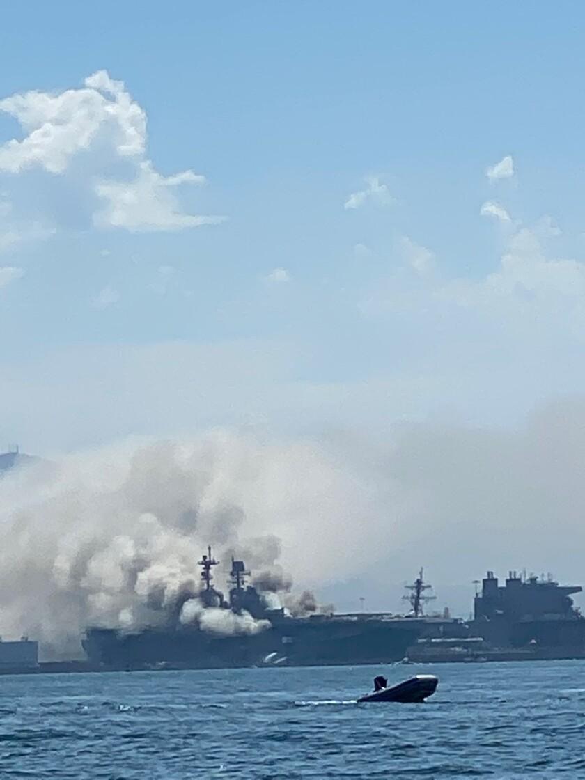Courtesy photo of a three-alarm fire aboard USS Bonhomme Richard at Naval Base San Diego