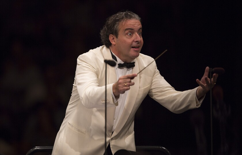 LOS ANGELES, CA - SEPTEMBER 11, 2014: Juanjo Mena conducts the Los Angeles Philharmonic in Beethoven