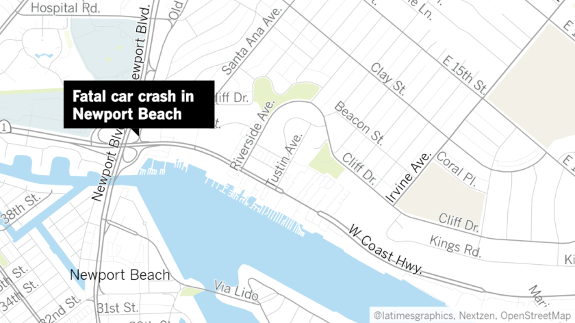 A car crash in Newport Beach in the 3000 block of Pacific Coast Highway early Sunday left one dead.