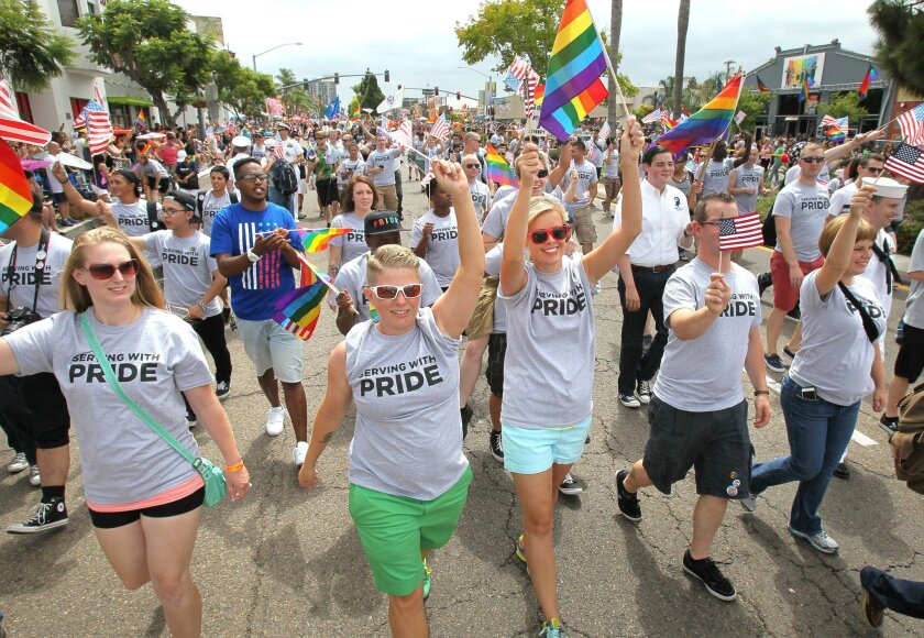 Military members march in the San Diego Pride Parade in this undated photo.
