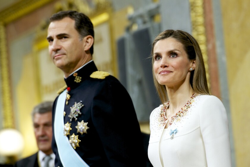 King Felipe VI of Spain and Queen Letizia of Spain during his inauguration at the Parliament (Congreso de los Diputados) on June 19, 2014 in Madrid, Spain.