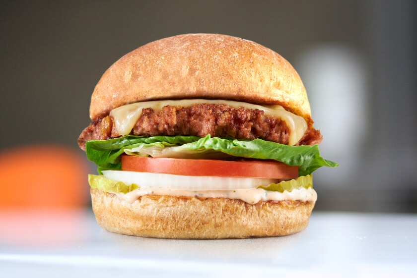The Flora Lounge Burger, a plant-based burger at Burger Lounge Del Mar and Hillcrest
