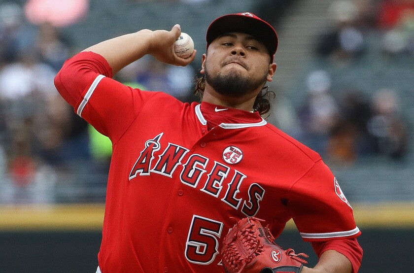 Angels pitcher Jaime Barria delivers during a 5-1 loss to the Chicago White Sox on Sunday.