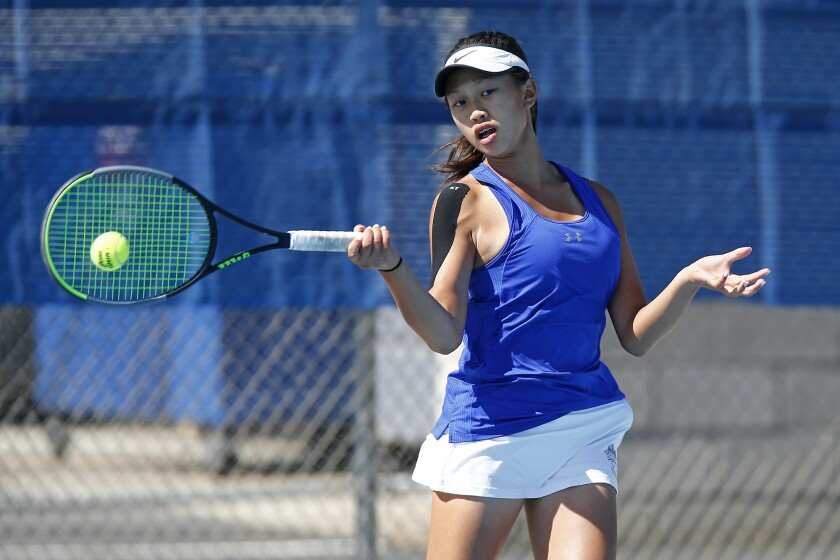 Fountain Valley No. 1 singles player Sophie Vu hits during her second set against Villa Park on Friday.