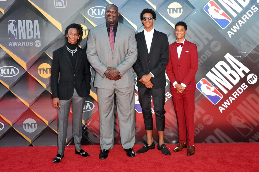 Myles O'Neal, Shaquille O'Neal, Shareef O'Neal and Shaqir O'Neal attend the 2018 NBA Awards Show at Barker Hangar on June 25, 2018 in Santa Monica, California.