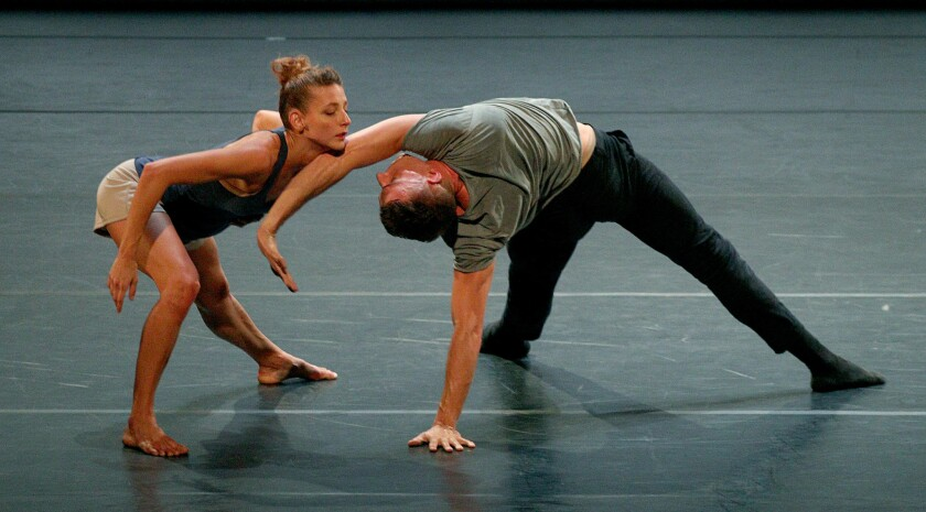 "Rachelle Rafailedes and Nathan Makolandra perform Noé Soulier's ""Second Quartet"" as part of the L.A. Dance Project program at the Wallis Annenberg Center for the Performing Arts in Beverly Hills."