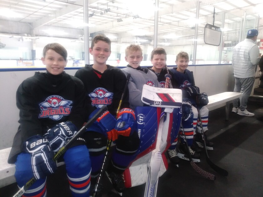 Among the leaders for the Junior Gulls hockey team heading to the Nation's Cup international tournament in Ann Arbor, Mich., are (from left) defensemen Myles Furtado and Hudson Welsome, goaltender Liam Olsen, and forwards Caden Danielson and Max Rickenbrode. (Glae Thien photo)