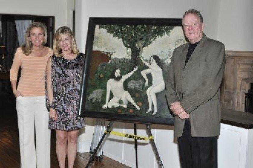 "Erin Weidner, Gigi Fenley and Glenn Palmedo-Smith with Ellis Ruley's ""Adam and Eve."" Photo/McKenzie Images"