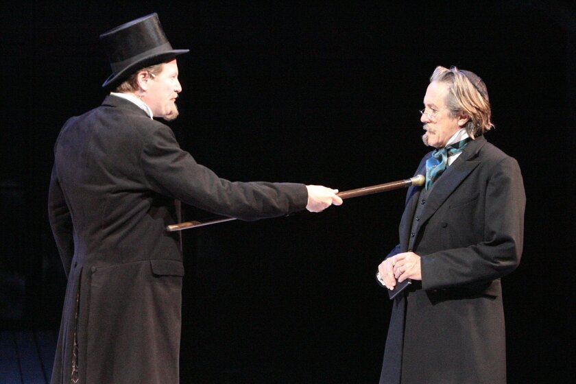 """Donald Carrier (left) as Antonio and Miles Anderson as Shylock in the Old Globe Shakespeare Festival production of """"The Merchant of Venice."""""""