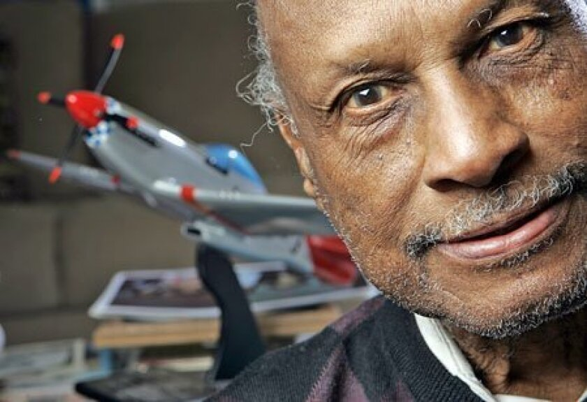 Thomas Pirtle, 82, of Emerald Hills has long identified himself as part of the legendary Tuskegee Airmen from World War II, but his name is not in a database of documented members. (John Gastaldo / Union-Tribune)