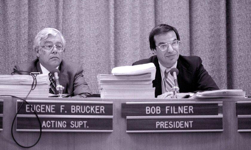 Bob Filner became the San Diego school board president in 1982.