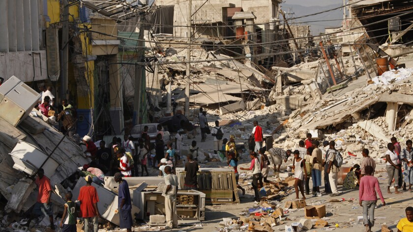 The devastated downtown area of Port-au-Prince, Haiti's capital, is shown after the 2010 earthquake that is estimated to have killed at least 220,000 people.