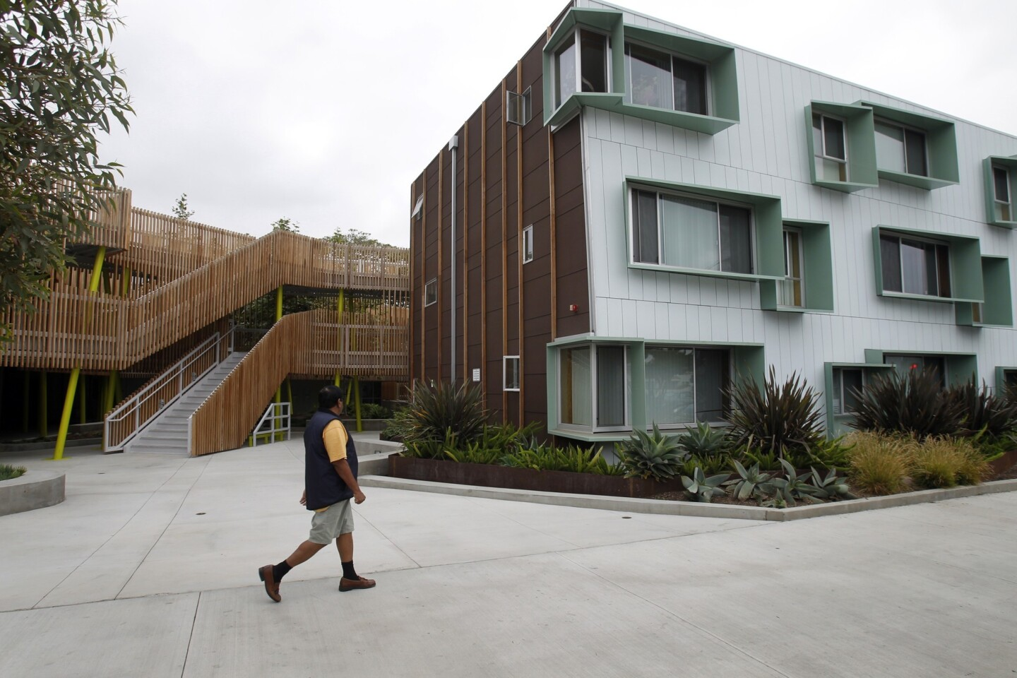 When creating this building, one of the goals of the Community Corp. of Santa Monica was to provide housing that both blends in with the neighborhood, but yet stands out in a beautiful way.