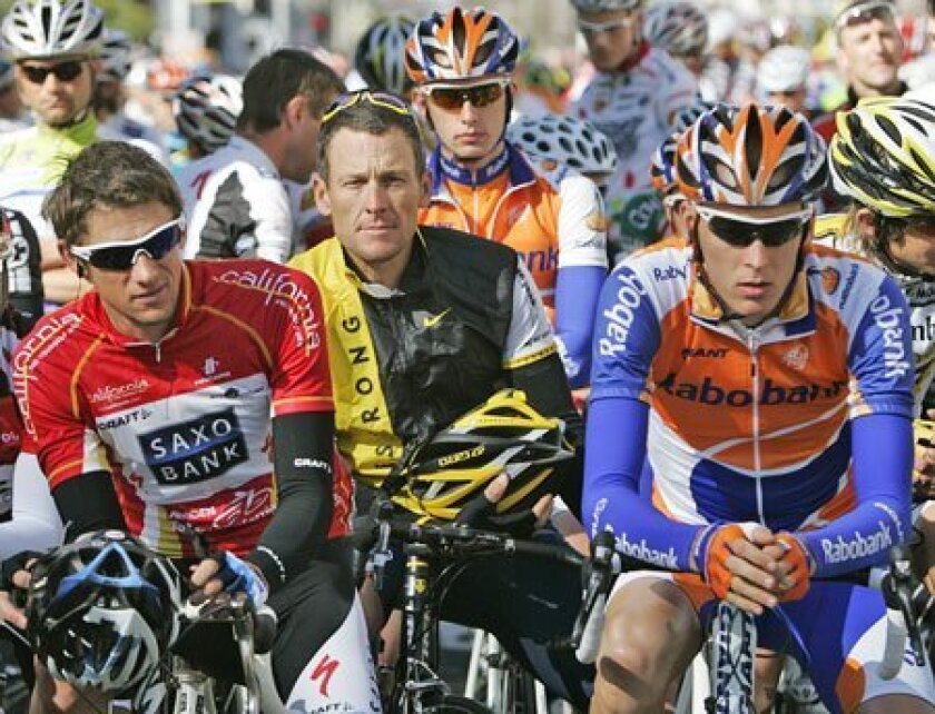 Lance Armstrong (center) races tomorrow in the Tour of California's eighth and final stage, a 96.8-mile ride that starts in Rancho Bernardo and finishes in downtown Escondido. (Marcio Jose Sanchez / Associated Press)