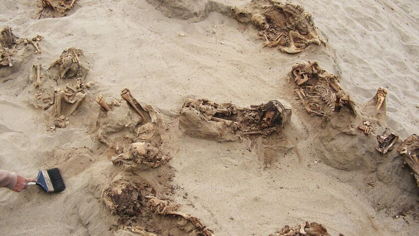More than a dozen bodies lie preserved in dry sand at the Las Llamas site near Trujillo, Peru.