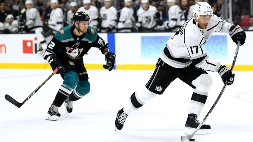 Ilya Kovalchuk (17) of the Kings shoots and scores a goal in front of Jacob Larsson (32) of the Ducks at Staples Center on Nov.6.