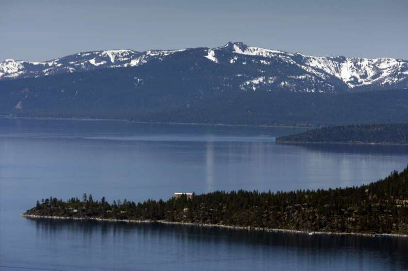 Lake Tahoe's famously blue water