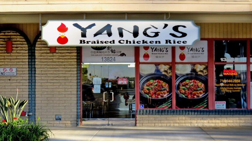 The first U.S. location of Yang's Braised Chicken Rice opened in Tustin in September 2017.