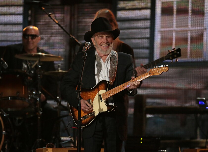 Merle Haggard performing at the Grammy Awards in 2014. The country legend died Monday at age 79.