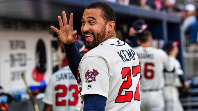 Outfielder Matt Kemp was traded to the Dodgers during the offseason and is considered a long shot to make the opening day roster.
