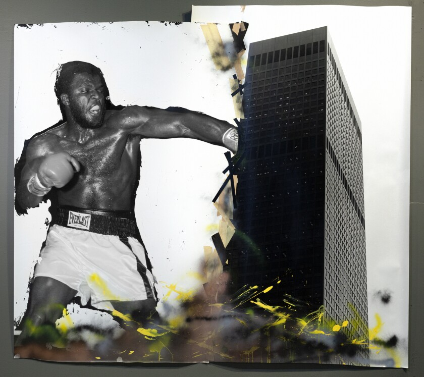 """A boxer as tall as a skyscraper punches a building in """"Support Systems,"""" a 1984 mixed-media work by Todd Gray."""
