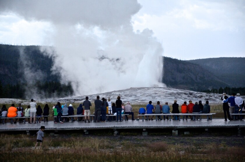 You can watch the Old Faithful geyser go off about every 90 minutes on Yellowstone National Park's webcam.