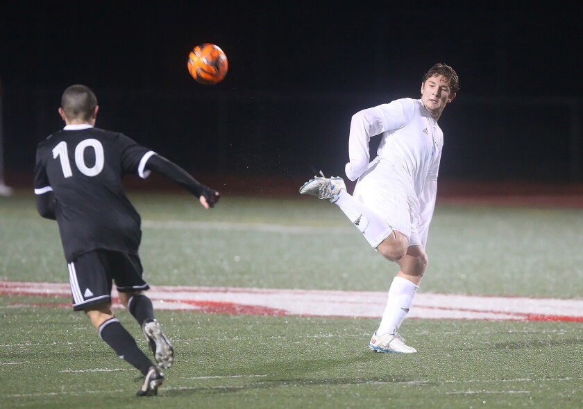 Corona del Mar's Matt Katz chips the ball behind him on a pass during nonleague soccer match against