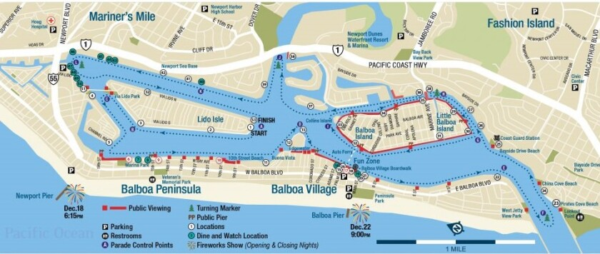 Newport boat parade map