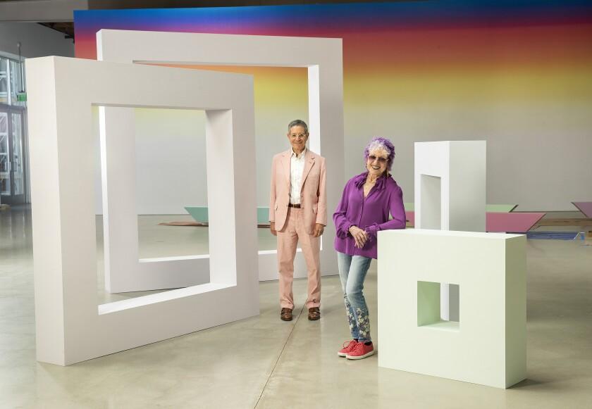 Artist Judy Chicago, with gallerist Jeffrey Deitch