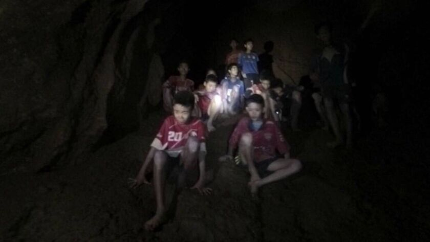 This Monday, July 2, 2018, file photo released by Tham Luang Rescue Operation Center, shows the boys