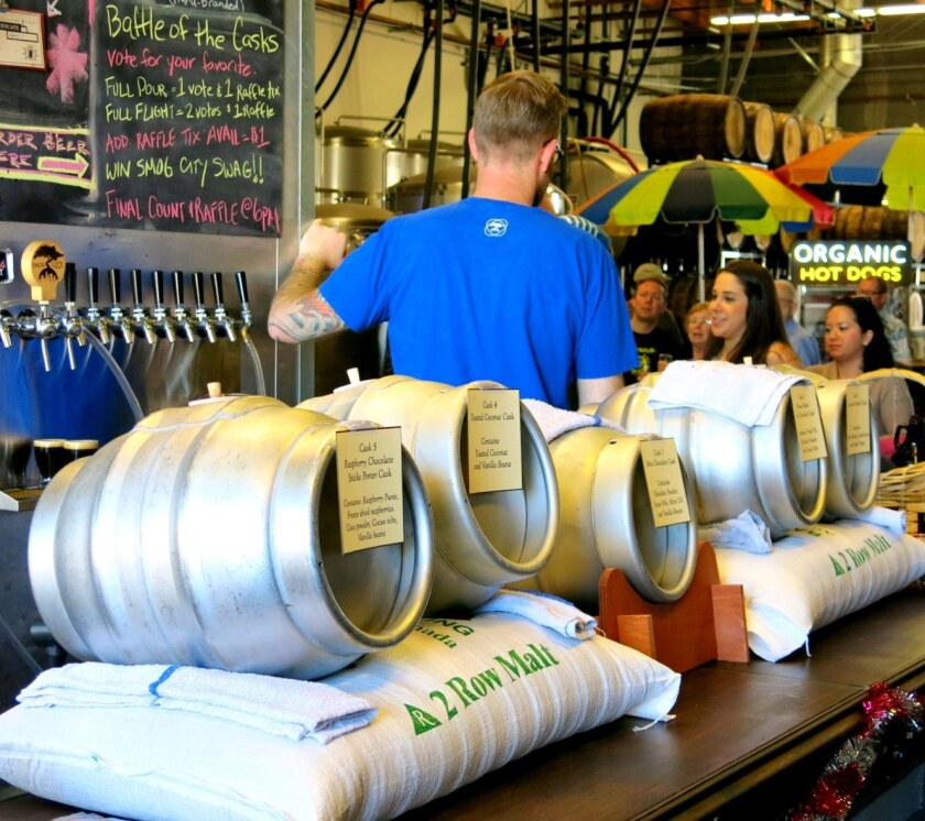 Cask ales lined up at a Smog City event