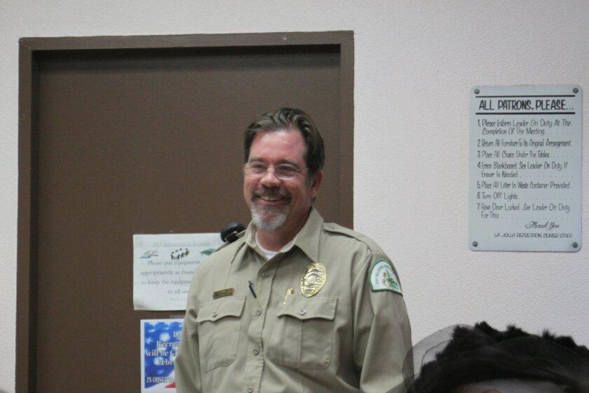 Park ranger Parish Rye speaks at the La Jolla Parks & Beaches meeting Jan. 26.