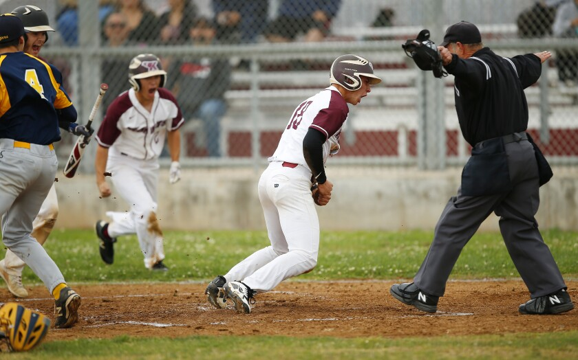 Kearny's Jacob Redondo cheers after scoring in the first inning during an 8-6 win over Morse on Thursday.