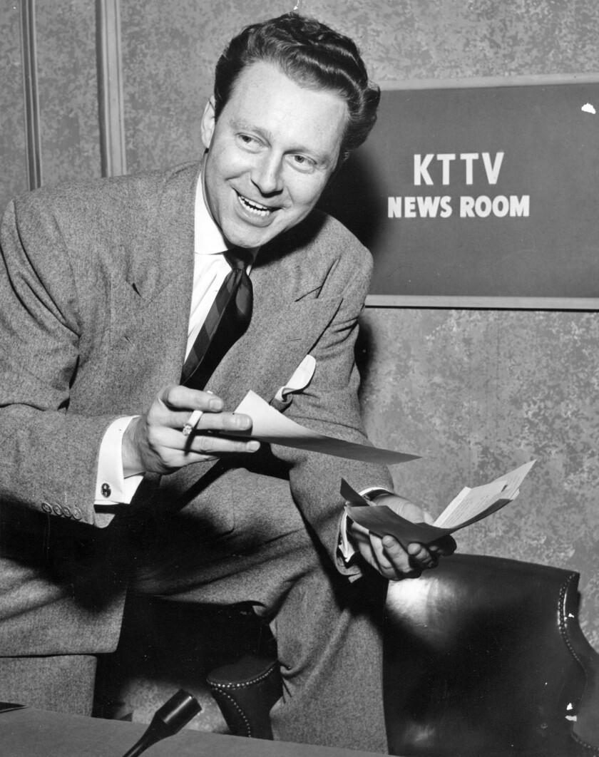 1954 file photo of George Putnamin the KTTV newsroom. Photo by KTTV/Rothschild.
