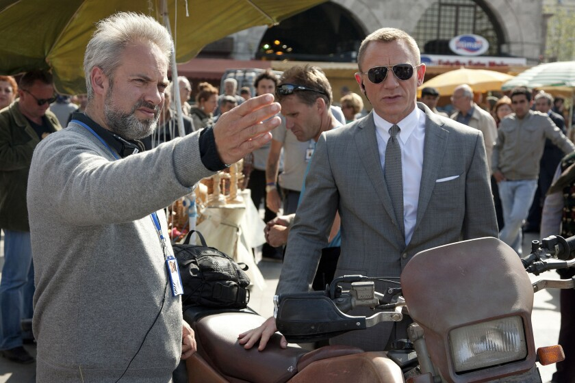 """Director Sam Mendes and Daniel Craig on the set of """"Skyfall."""""""