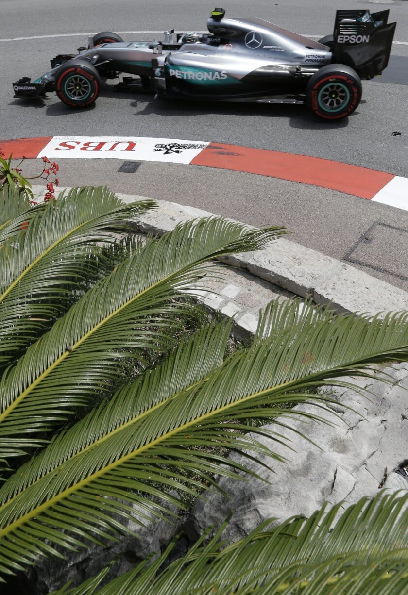 Mercedes driver Nico Rosberg of Germany steers his car during the second free practice at the Monaco racetrack in Monaco,  Thursday, May 26, 2016. The Formula one race will be held on Sunday. (AP Photo/Claude Paris)