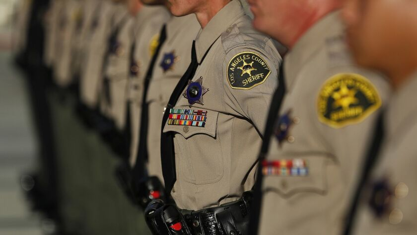 Four L.A. County Sheriff's Department officers are on leave as part of an internal inquiry into a Sept. 28 incident.