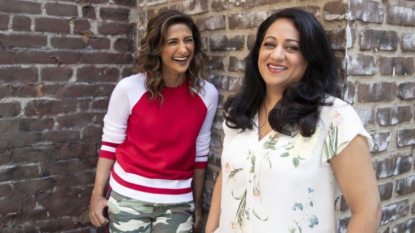 UNIVERSAL CITY, CALIF. -- THURSDAY, SEPTEMBER 6, 2018: Showrunner Aseem Batra, right, and actress Sa