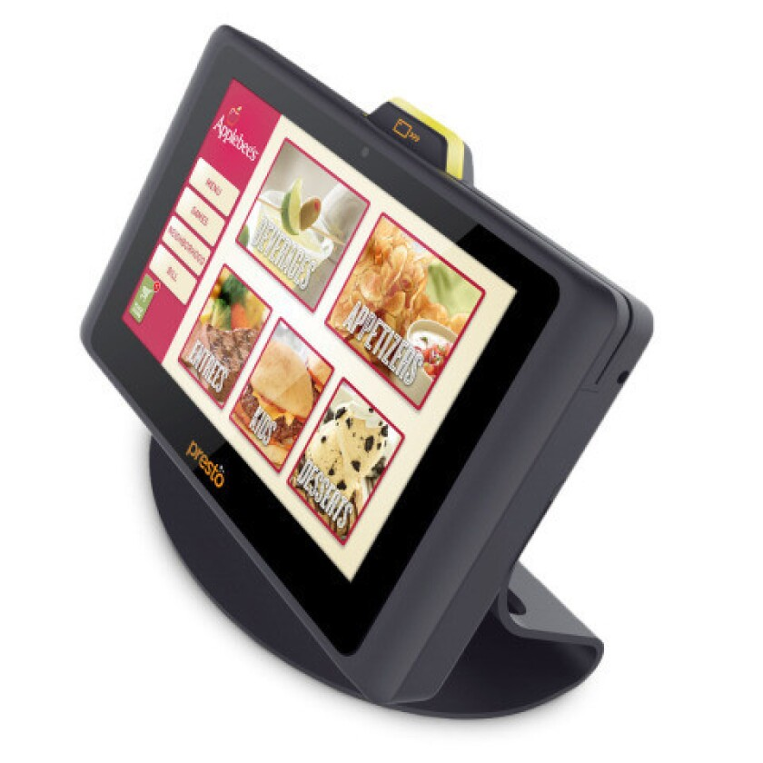 DineEquity will install 100,000 Presto tablets in Applebee's restaurants by the end of next year.