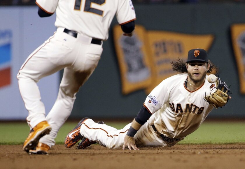 San Francisco Giants shortstop Brandon Crawford tosses the ball to second baseman Joe Panik to assist on a double play after a diving stop on a ground ball by Los Angeles Dodgers' Howie Kendrick during the sixth inning of a baseball game on Tuesday, April 21, 2015, in San Francisco. (AP Photo/Marci