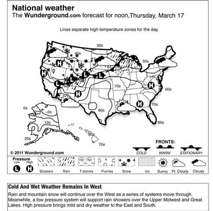 The forecast for noon, Thursday, March 17, 2011 shows rain and mountain snow will continue over the West as a series of systems move through. Meanwhile, a low pressure system will support rain showers over the Upper Midwest and Great Lakes. High pressure brings mild and dry weather to the East and South. (AP Photo/Weather Underground)