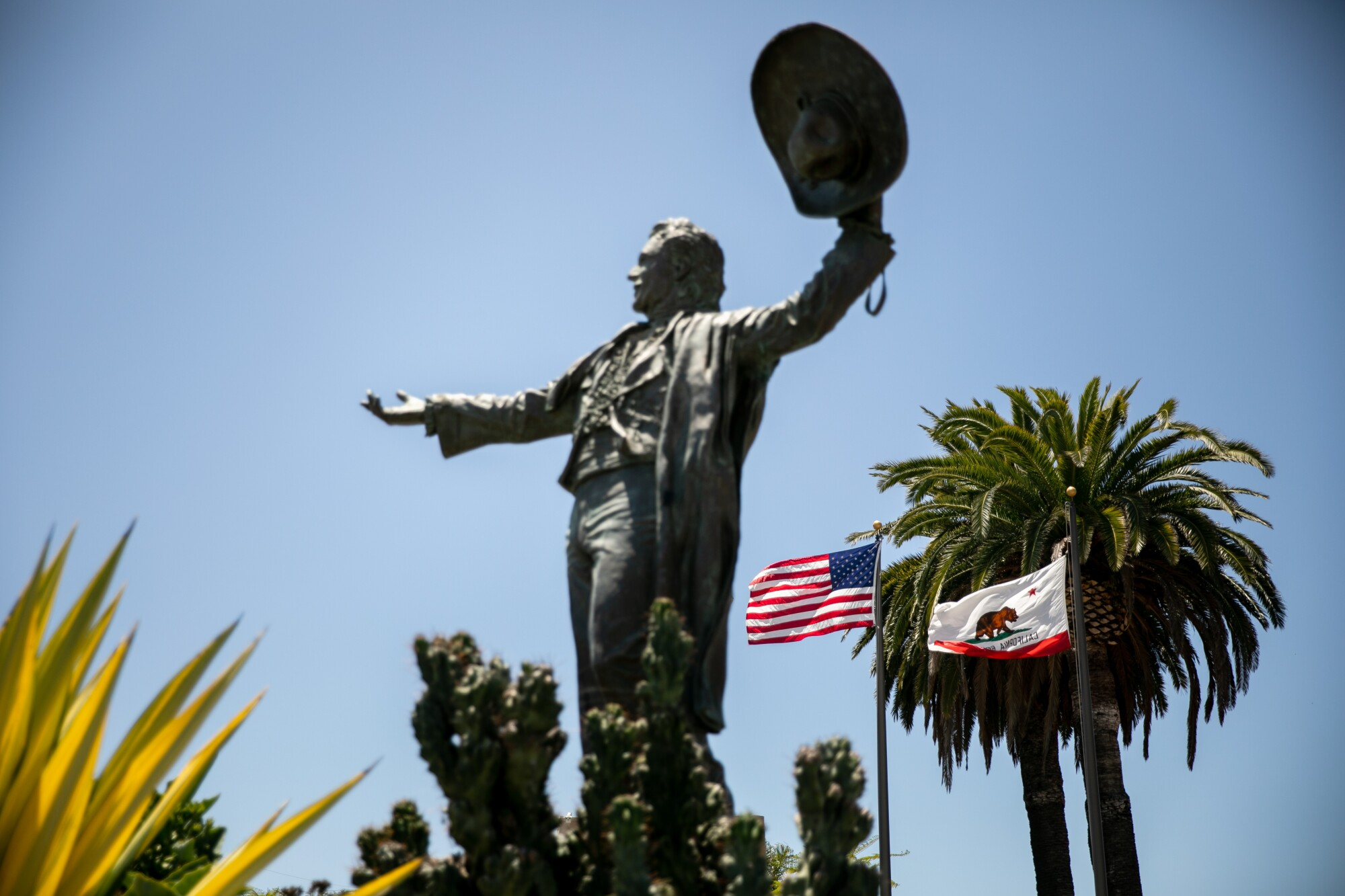 A statue of Don Diego, the late fair ambassador, stands at the gate to the Del Mar Fairgrounds
