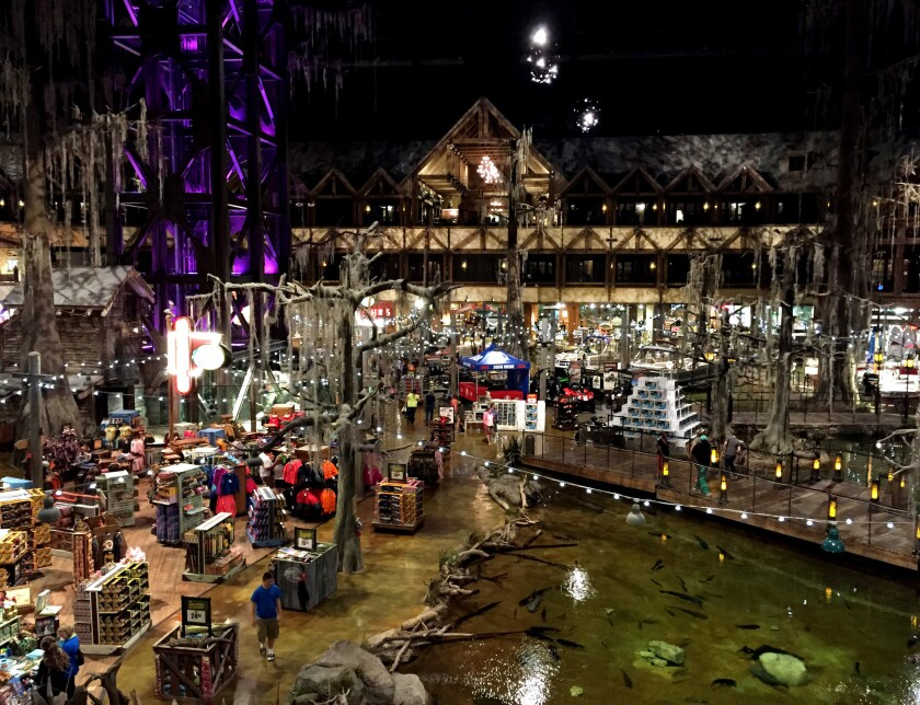 Outdoors enthusiasts can find a hunting lodge-type stay in Memphis, Tenn., at the Big Cypress Lodge inside the Bass Pro Shop pyramid. Expect lots of rough-hewn wood, taxidermy and sweeping views of the superstore's massive shopping areas.