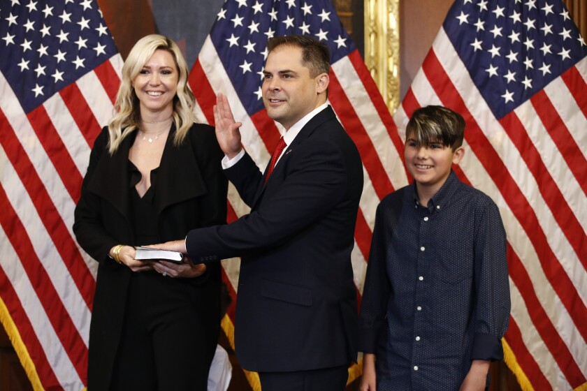 Rep. Mike Garcia was joined by his wife Rebecca and son Preston for his swearing-in ceremony on Capitol Hill on Tuesday.