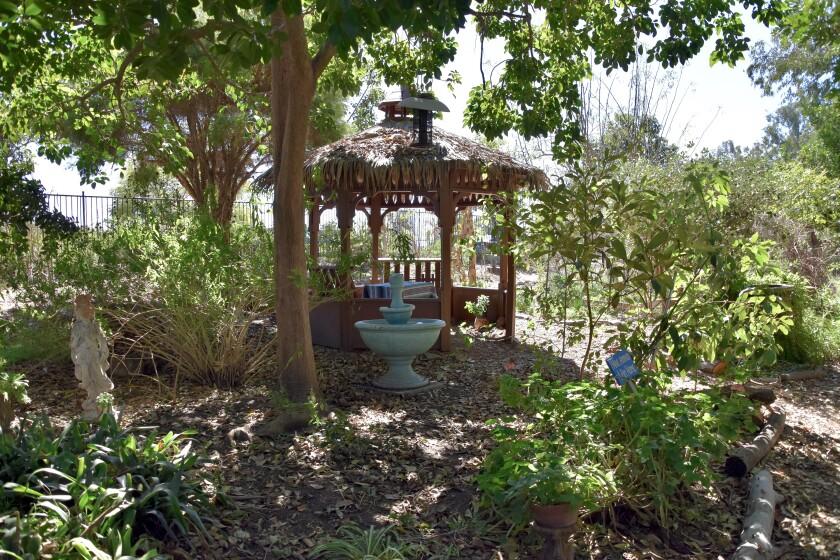 WorldBeat Cultural Center's garden in Balboa Park features a Healing Sound Sanctuary sitting area.