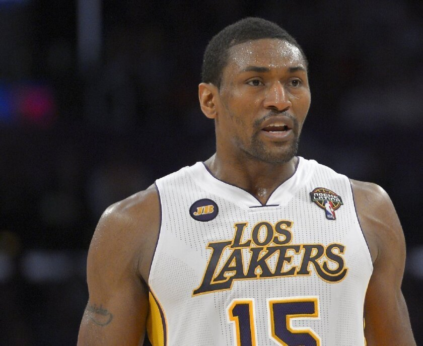 Former Laker Metta World Peace has been practicing with current power forward Julius Randle.